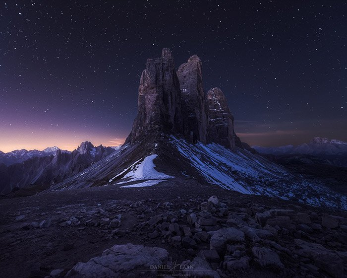 Tre Cime mountains at night.