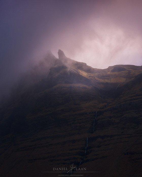 Atmospheric mountain photography shot of Iceland's rugged Snæfellsnes peninsula at sunset