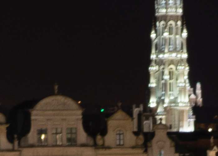 architecture photographed at night, blurry due to camera motion blur
