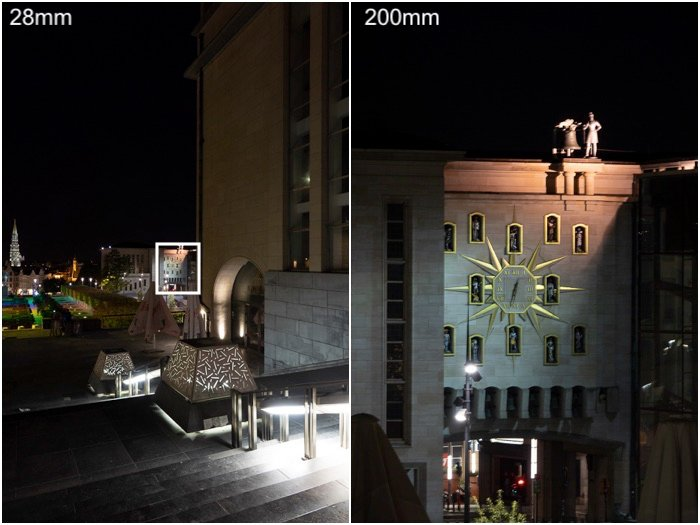 comparison of two photos demonstrating fast superzoom, photo on the right showing zoom of structure detail