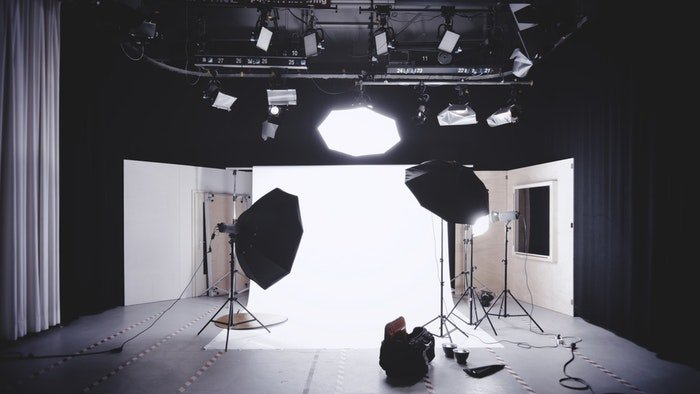 A photo shoot studio set-up