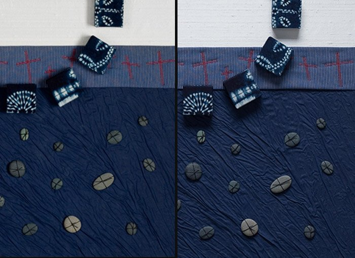 A diptych of blue textile artwork from different perspectives
