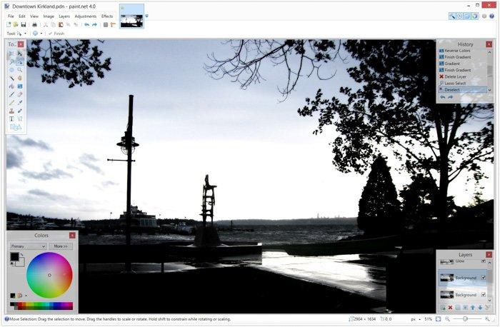 A screenshot of the free photoshop alternative Paint.NET interface