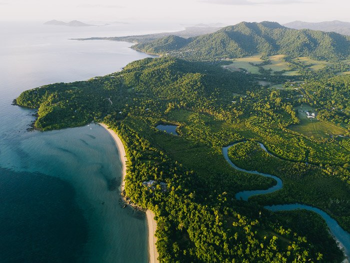 aerial view of a stunning coastal landscape