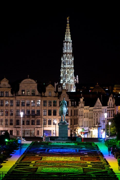 Night time view from Mons des Arts in Brussels.