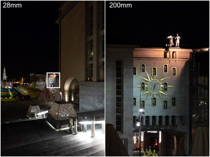 Diptych showing a night cityscape and a closeup demonstrating fast superzoom on a Sony RX10 professional camera