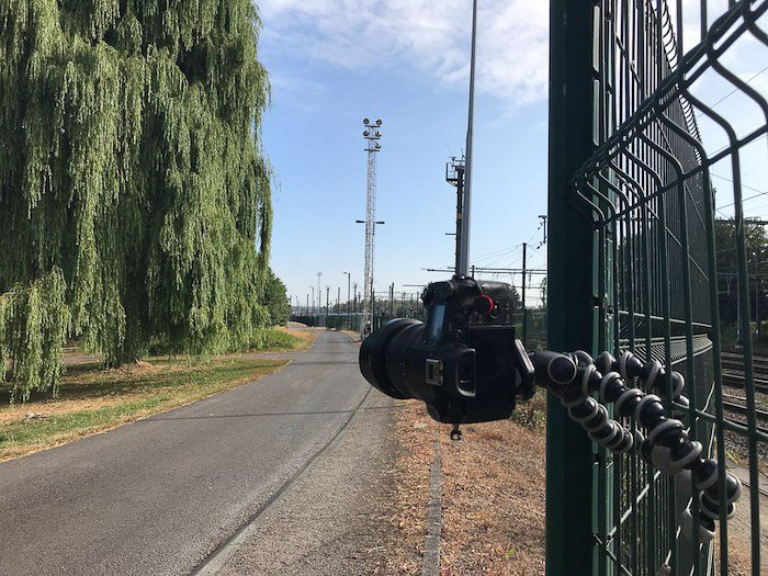 a Sony RX10 safely fixed on a fence with a Gorillapod SLR Zoom