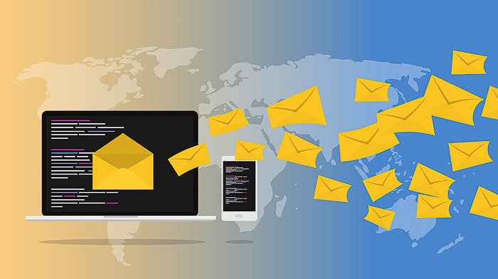 Colourful graphic image representing email marketing for real estate