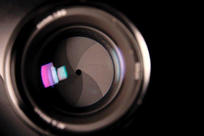A close up of a camera aperture