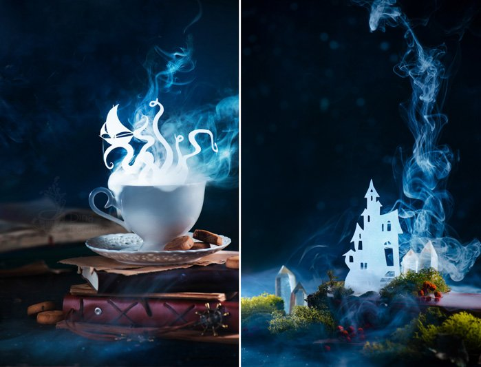 Mystical still life setup featuring cut out silhouettes of Sea monster, giant octopus silhouette shining in a steaming teacup. Dreamer or reader coffee with books.