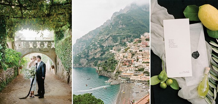A triptych of different wedding images from Rangefinder wedding blogs