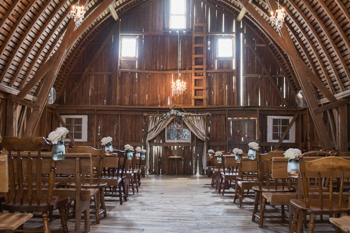 A wedding photography shot of the interior of a church