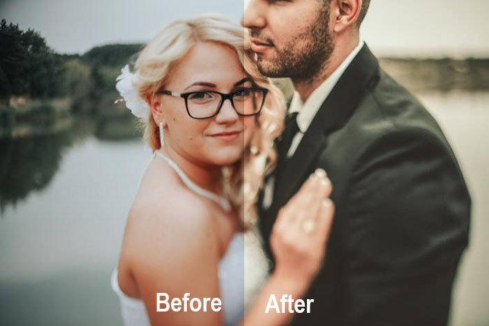 A wedding couple portrait with a before and after comparison using Rustic Wedding - Photonify - free wedding photography presets