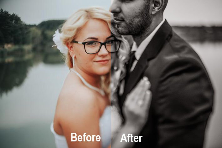 Before and after wedding shot using 'Chocolate - Fix The Photo' free wedding photography presets