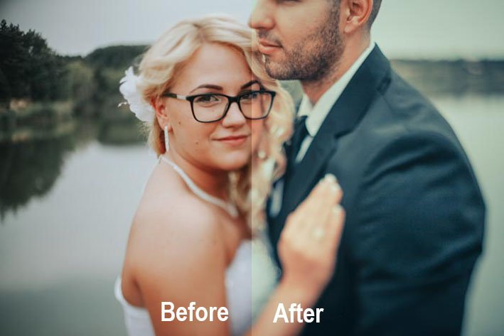 Best free lightroom wedding presets - a before and after couple potrait using Preset Wedding - Preset Pro