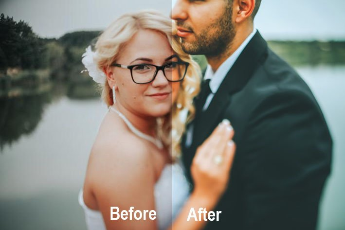 A wedding portrait with before and after effect of using Elegant wedding - free lightroom wedding presets