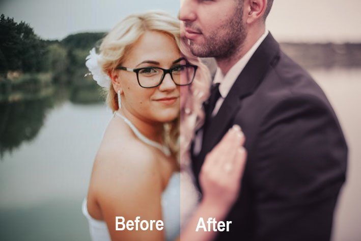 A photo of a newlywed couple using Photonify Lightroom wedding presets