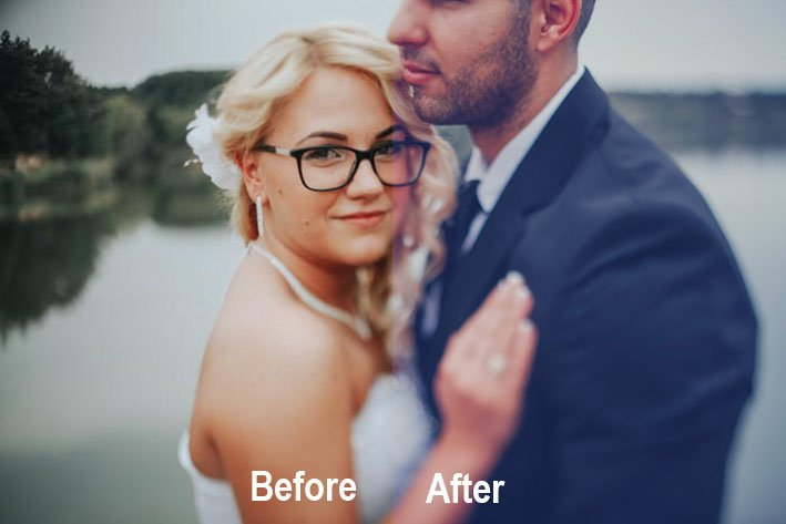 A photo of a newlywed couple using Be Art wedding photography Lightroom preset