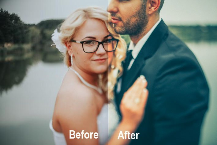 A before and after image of a bride and groom using The Bouquet - Free Presets - Preset Love, free wedding photography presets