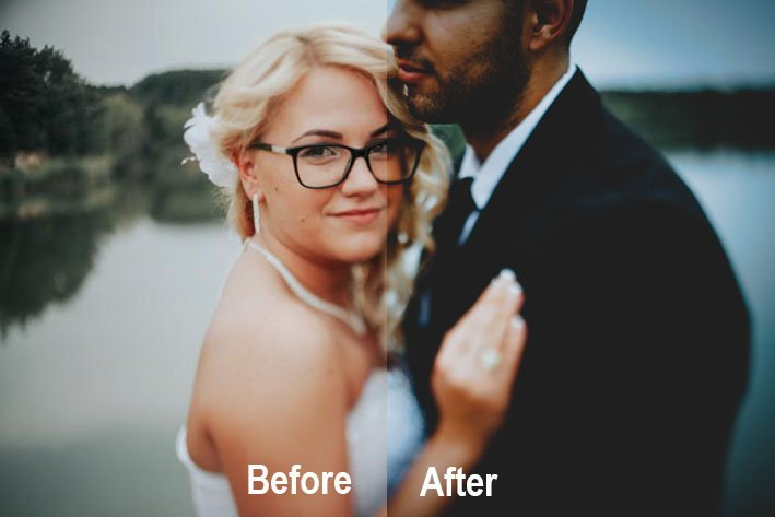 A before and after image of a bride and groom using Wedding Smiles - Preset Love, free wedding photography presets