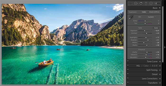 屏幕截图,显示如何在风景图像上使用lightroom预设
