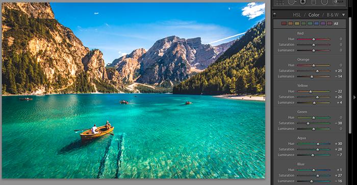 显示如何在景观图像上添加Lightroom预设的屏幕截图