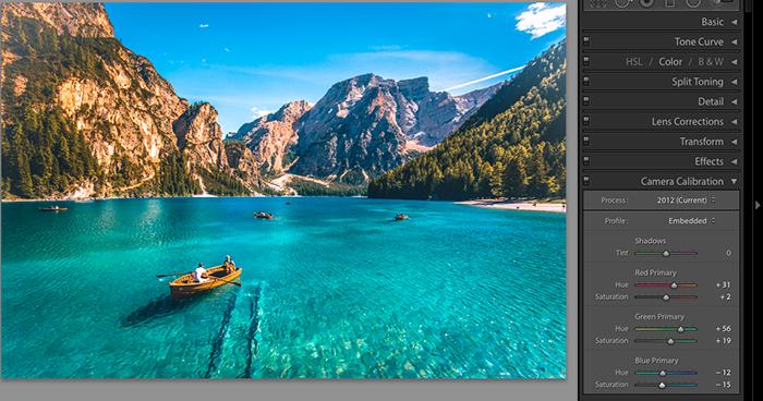 屏幕截图,显示如何保存Lightroom预设 - 相机校准