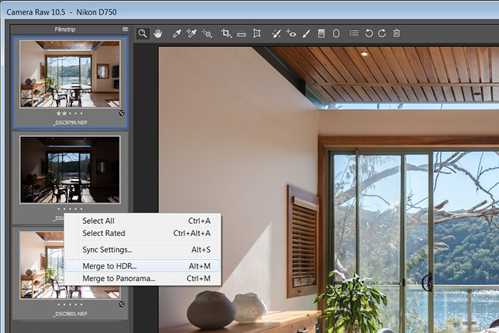 Screenshot of ACR HDR merge, what is bracketing in photography