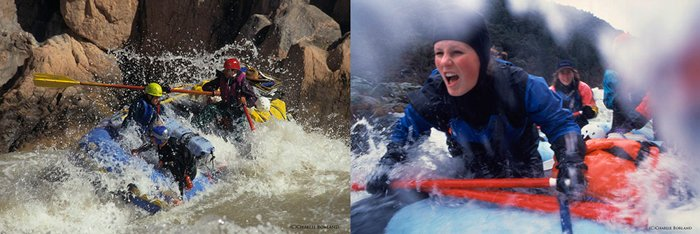 comparison side by side of two photos of people rowing in the rapids, close up on the right