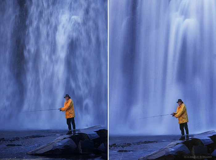 comparison of two photos side by side, man in yellow fishing on a rock in front of a waterfall, comparing shutter speed