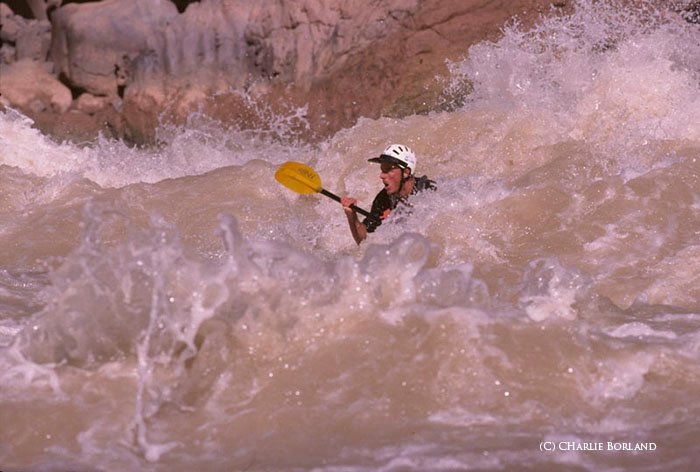 person with a yellow oar braving the rapids, rough waters
