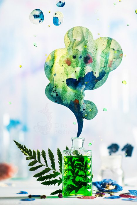 Bright and airy still life using analogous colors green and blue