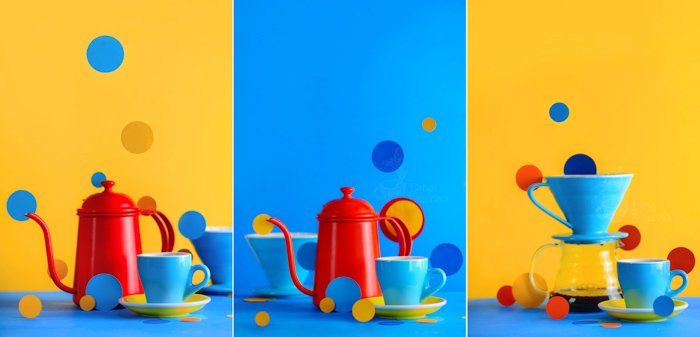 A blue and orange themed triptych using colorful props