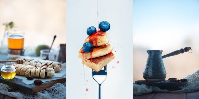 Puff pastry breakfast with tea and honey - food photo triptych using orange and blue colors