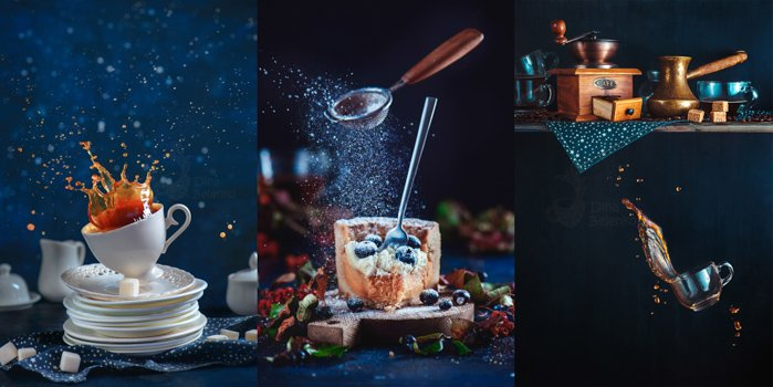 Coffee splash in a vintage porcelain cup on a stack of dishes and tea saucers. Dynamic food photography in motion. Kitchen mess with high-speed liquid motion, using orange and blue color scheme