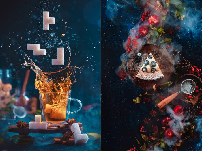 Splash of tea in a double wall glass with sugar Tetris pieces. 8-bit video game in real life concept with copy space. Creative action food photography. using colors that contrast with blue