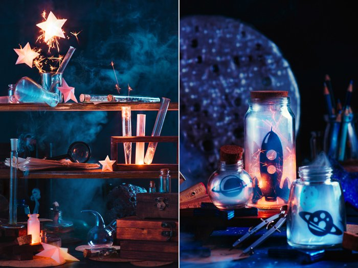 Magical still life diptych focused on orange and blue colors