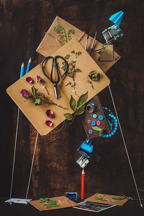 Flat lay still life with the theme ' Notes and keepsakes'