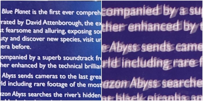 photo of white text on blue background, side by side comparison, right side zoomed in crop showing camera shake