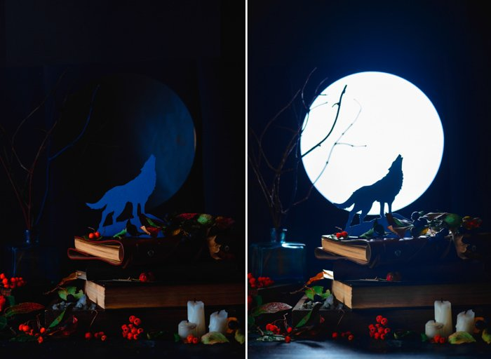 Atmospheric still life diptych of a paper wolf howling against a full moon and other spooky Halloween photography props against a dark background