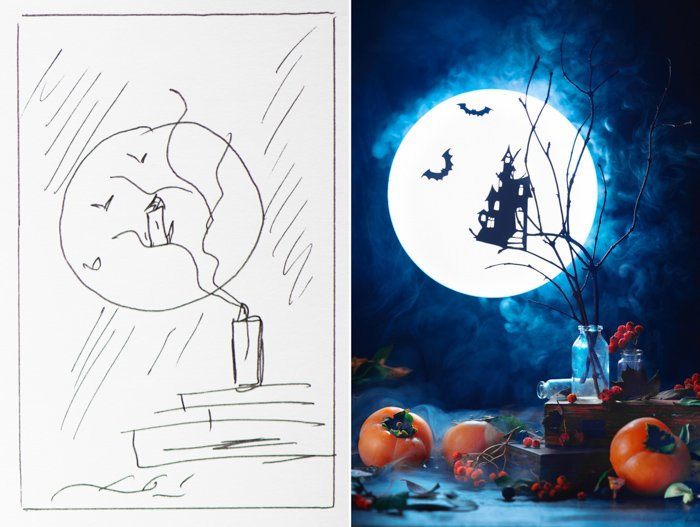 Diptych of a sketch for a spooky Halloween photography still life beside the realised photo