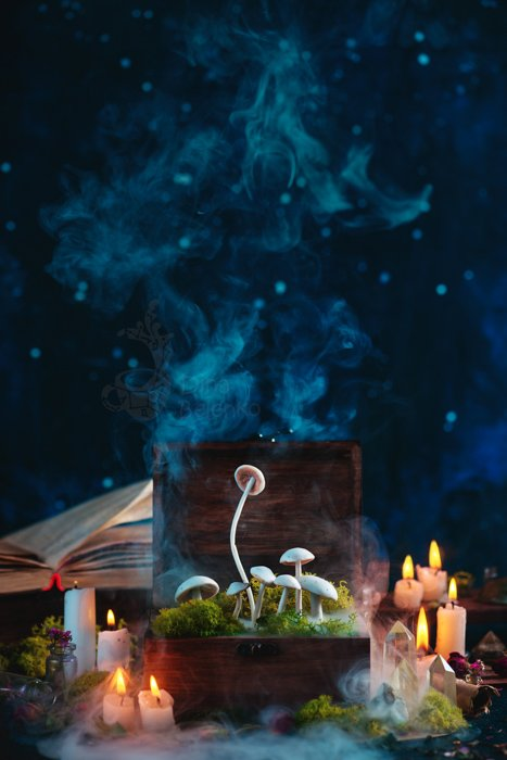 Atmospheric still life featuring a box of mushrooms, smoke, candles and other spooky Halloween photography props against a dark background