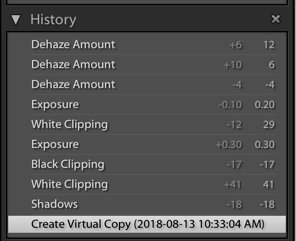 screenshot of creating a virtual copy on Lightroom product photography editing