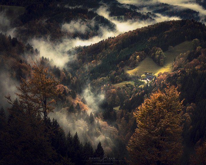 Aerial view of a misty autumn landscape