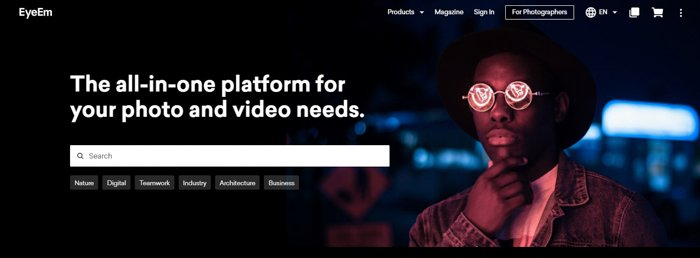Screenshot of Eyeeem website for selling photos