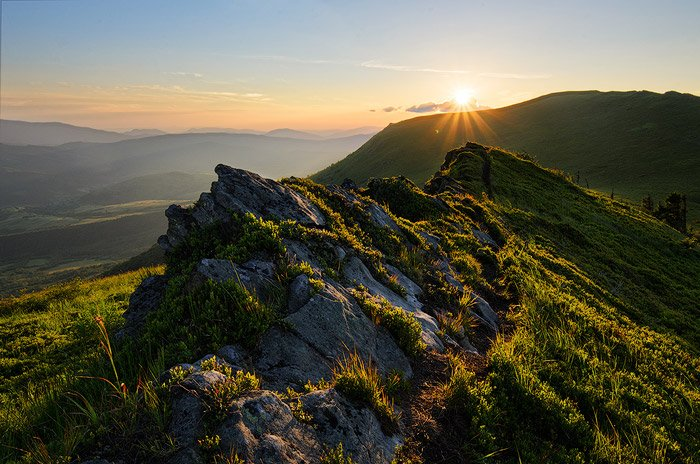 A stunning mountainous landscape shot using backlighting