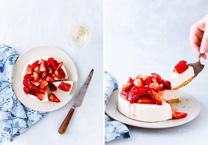 Diptych of a fruity dessert on light background