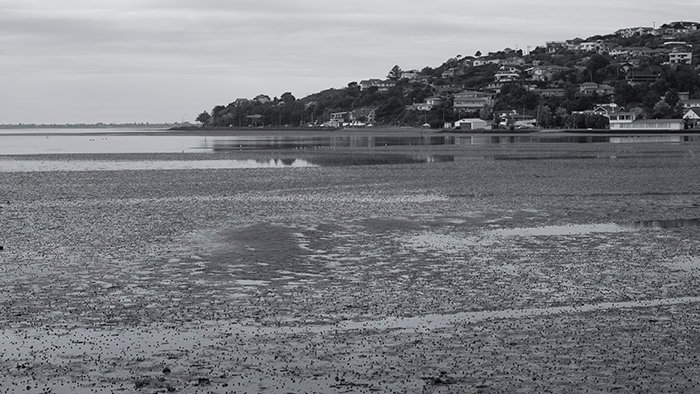 The estuary with a blue tone and increased sharpness and contrast monochrome in-camera settings. 50mm, ISO100, 1/250sec, f/9.