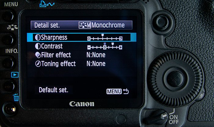 Close up of the monochrome in-camera setting on a Canon 5D Mark II.