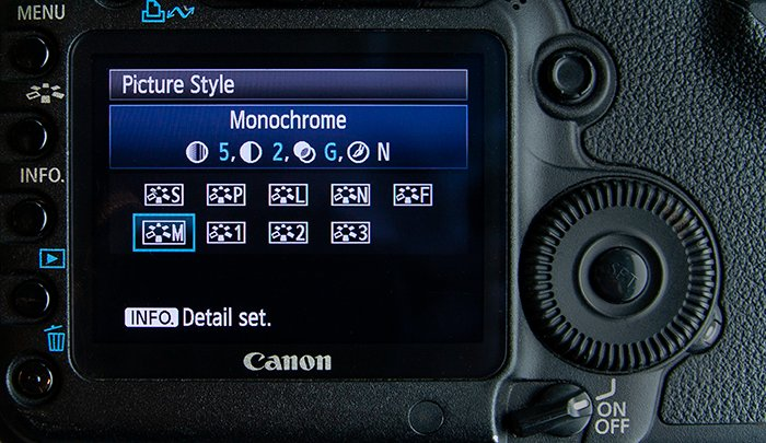 Close up of a scamera settings screen -Monochrome selected on a Canon 5D Mark II.